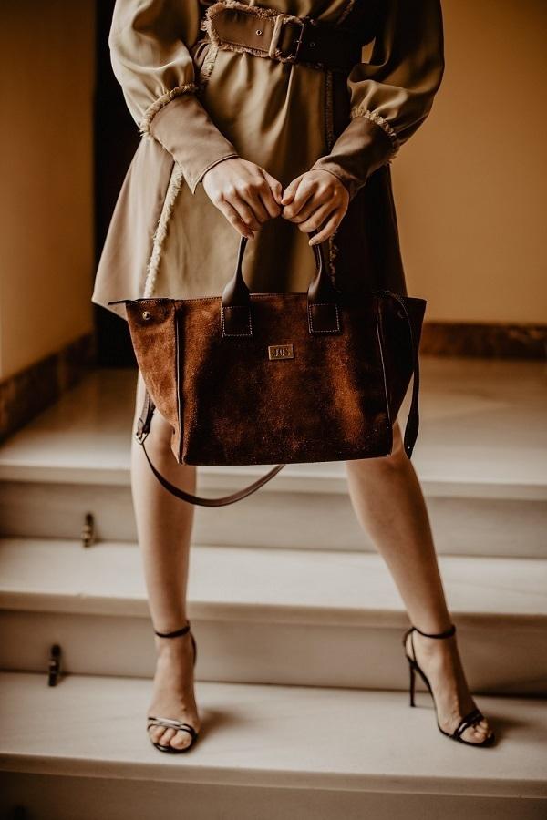 bolsos de ante marrón